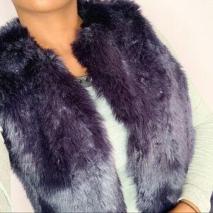 Navy Blue Fur Vest